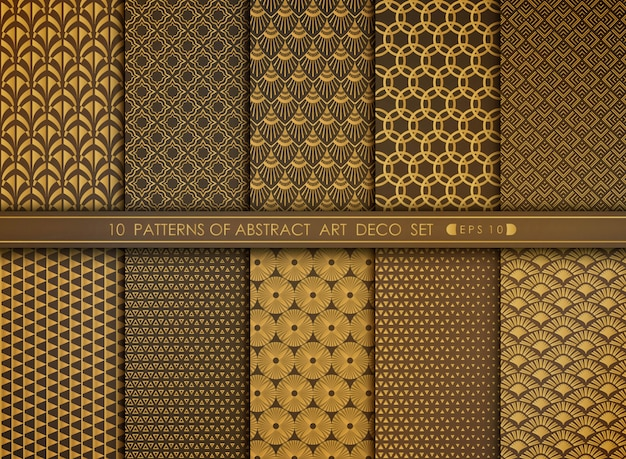 Abstract flower style antique of gold art deco pattern set. Premium Vector