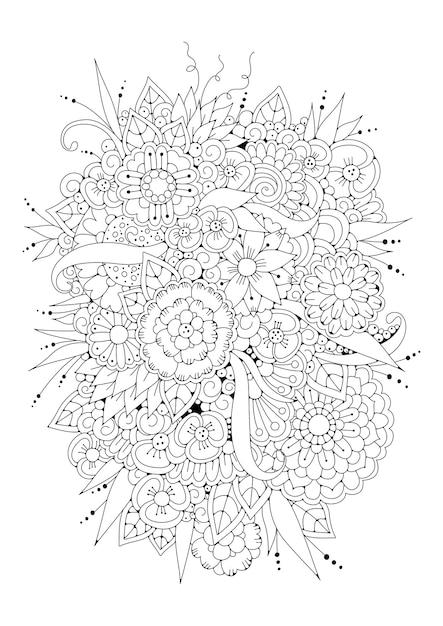 抽象的な花。ぬりえ。図。 Premiumベクター