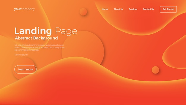 Abstract fluid landing page background Premium Vector