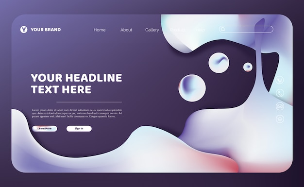 Abstract fluid landing page template Premium Vector