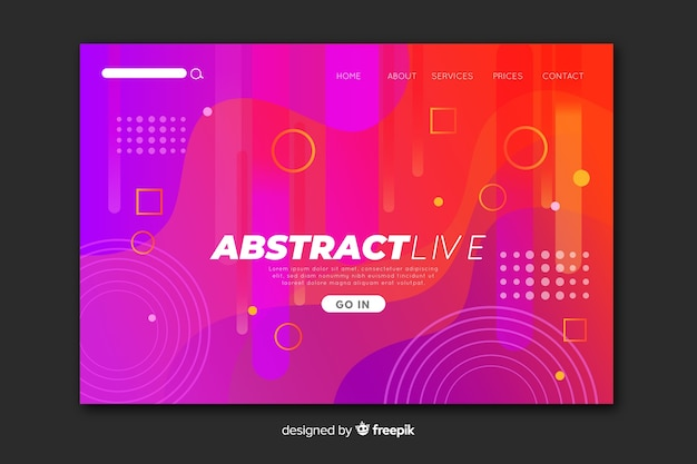 Abstract fluid landing page Free Vector