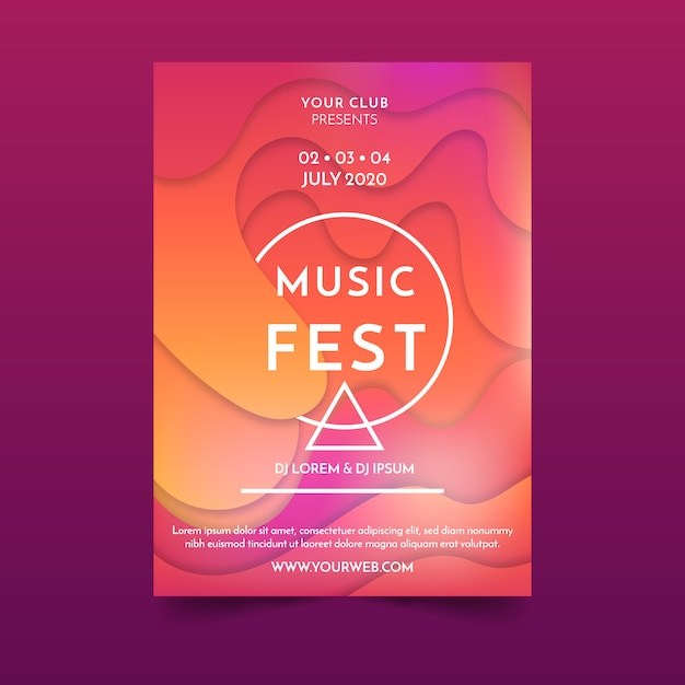 Abstract fluid music poster Free Vector