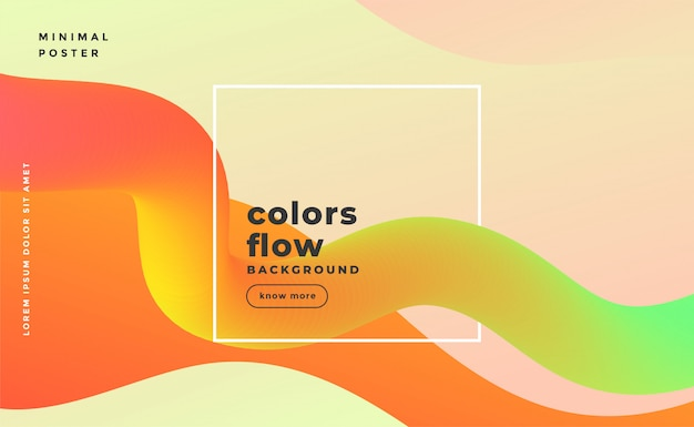 Abstract fluid wave motion banner in warm colors Free Vector