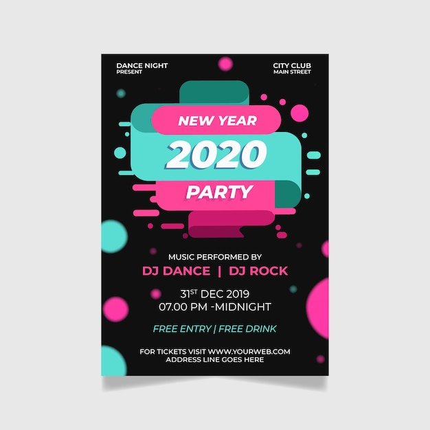 Abstract flyer template new year 2020 party Free Vector