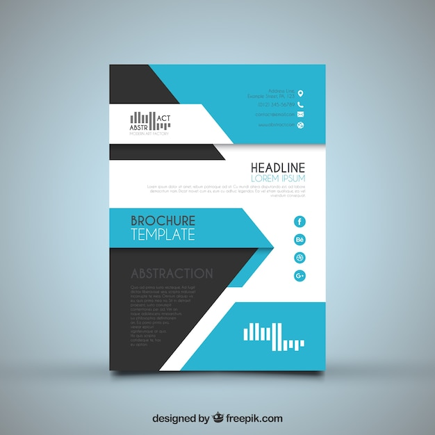 Abstract Flyer Template With Blue Shapes Vector | Free Download