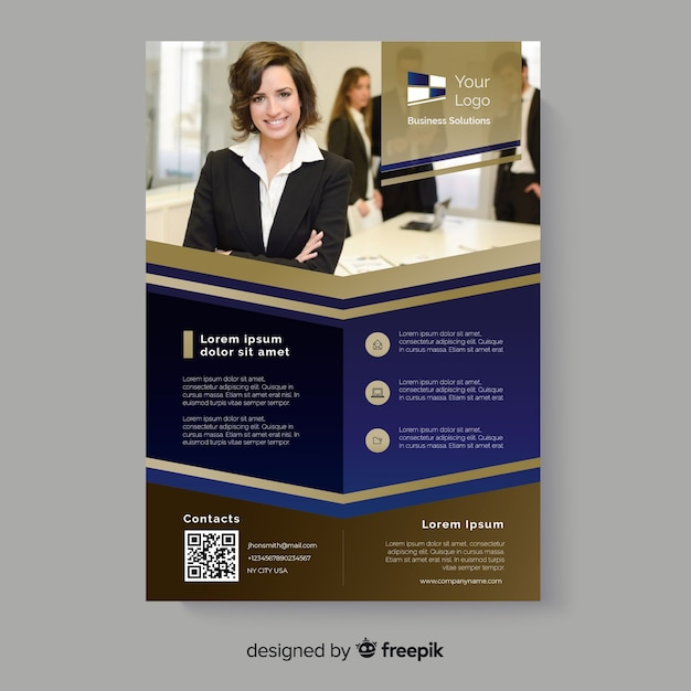 Abstract flyer with business woman smiling Free Vector