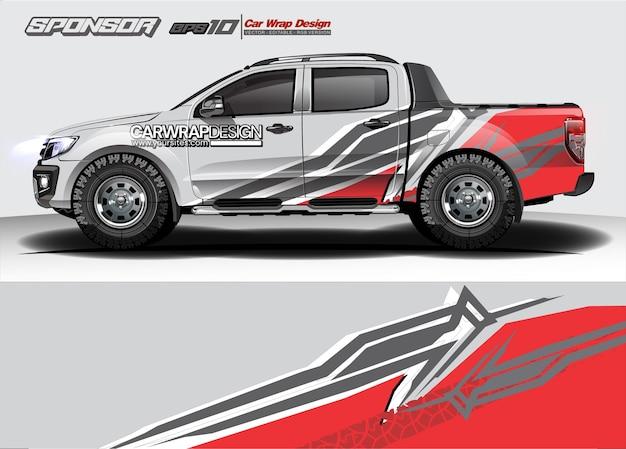 Абстракция для грузовика, дизайна упаковки гоночного автомобиля и ливреи автомобиля Premium векторы