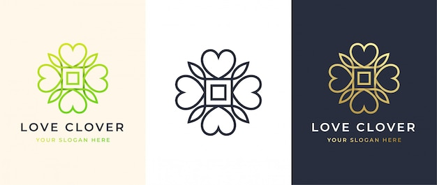 Abstract four leaf love clover logo design Premium Vector