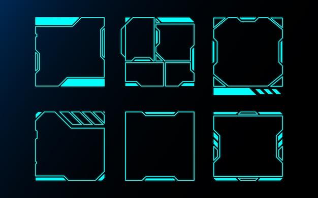 Абстрактный набор кадров технологии будущего интерфейса hud. Premium векторы