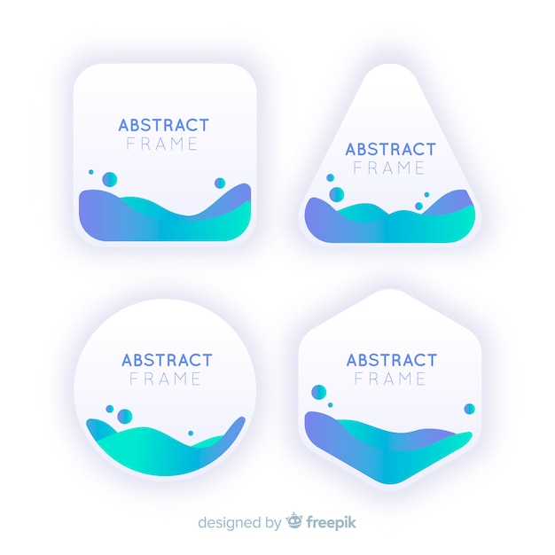 Abstract frames with waves inside Free Vector