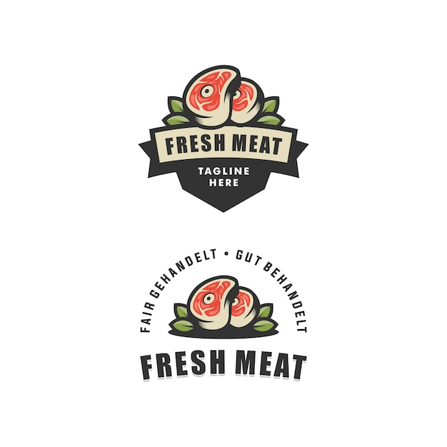 Abstract fresh meat illustration vector design template Premium Vector
