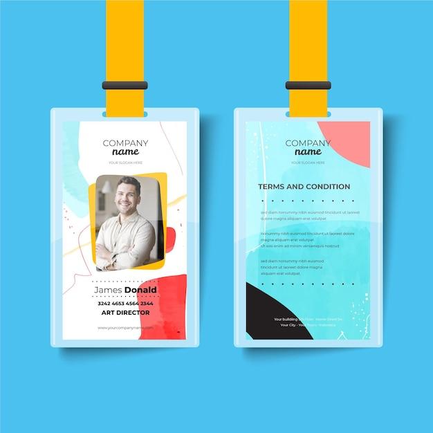 Modello di carta d'identità anteriore e posteriore astratto Vettore gratuito