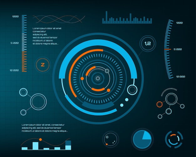 Abstract future, concept vector futuristic blue virtual graphic touch user interface hud. for web, site, mobile applications isolated on black background, techno, online design, business, gui, ui. Premium Vector