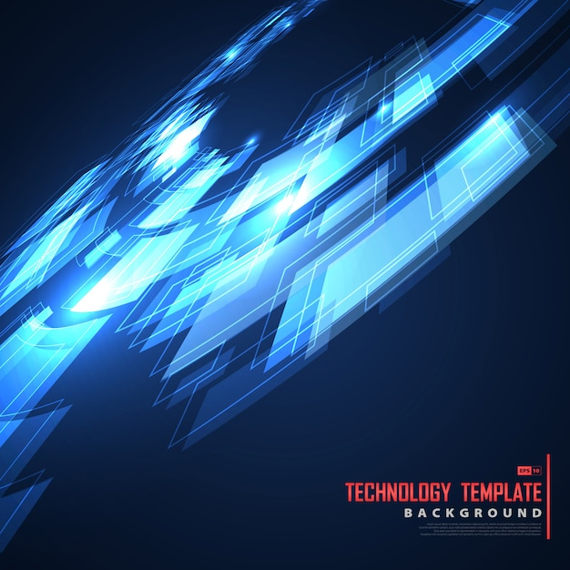 Abstract future design of blue template technology cover