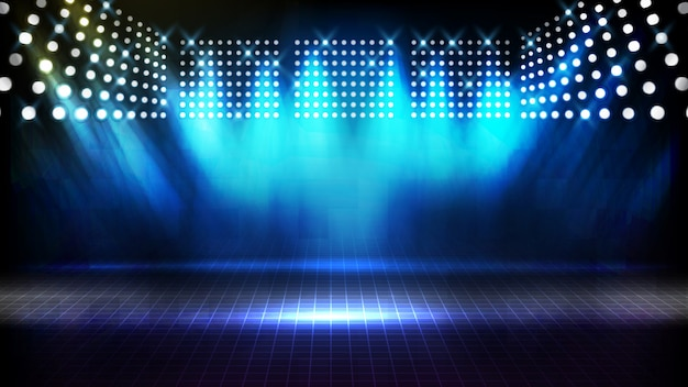 Abstract futuristic background of blue empty stage arena stadium spotlgiht stage Premium Vector