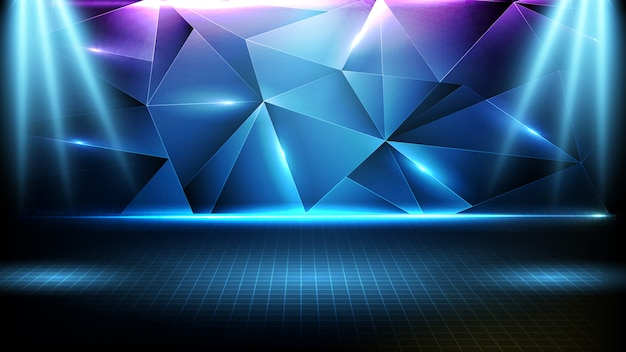 Abstract futuristic background of blue empty stage ,triangle pattern geometrical and neon lighting spotlight stage Premium Vector