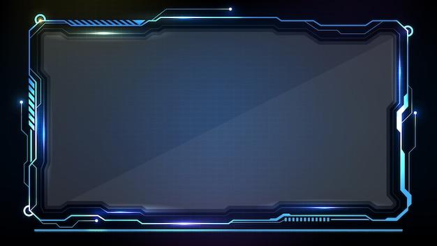 Абстрактный футуристический фон. синий светящийся технологический научно-фантастический кадр hud ui Premium векторы