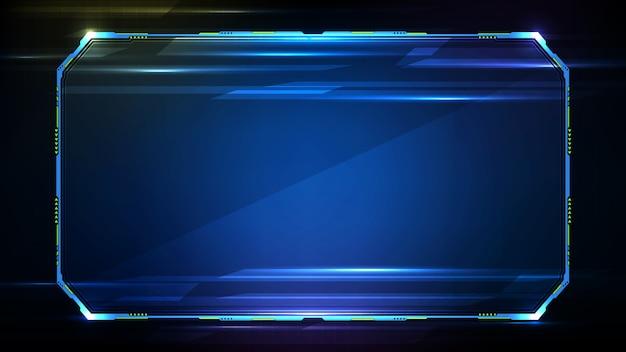 Hình nền xanh blue hiện đại với ánh sáng xanh ở viền