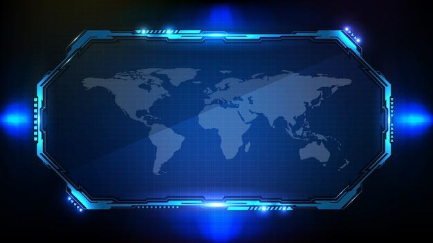 Абстрактный футуристический фон. голубая светящаяся научно-фантастическая рамка hud ui Premium векторы