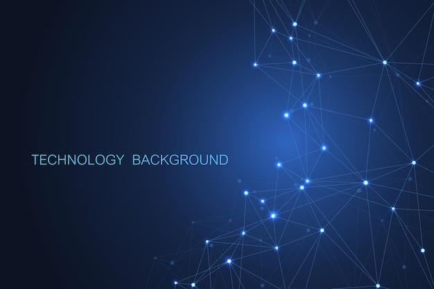 抽象的な未来的な背景。紺色の背景に多角形の分子技術。 Premiumベクター