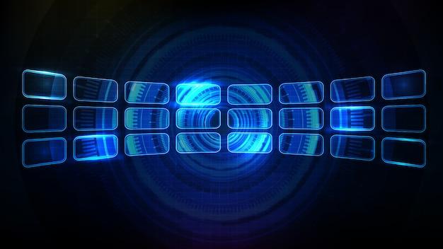 青い光るhud uiフレーム要素パネルディスプレイの抽象的な未来的な背景 Premiumベクター