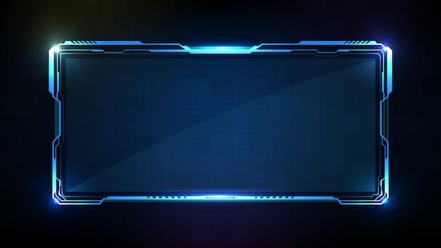 青い光る技術sci fiフレームhud uiの抽象的な未来的な背景 Premiumベクター