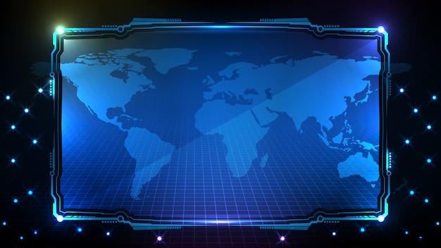 Абстрактный футуристический фон синих светящихся технологий научно-фантастической рамки hud ui Premium векторы
