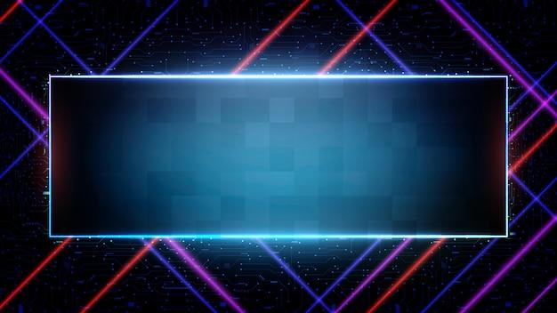 Абстрактный футуристический фон синего печатной платы и неоновой квадратной рамы Premium векторы