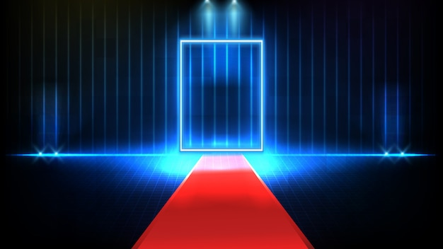 Abstract futuristic background of red empty stage covered with red carpet and lighting spotlgiht stage background, key to success concept Premium Vector
