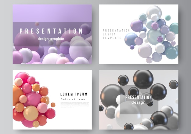 Abstract futuristic background with colorful spheres, glossy bubbles, balls. Premium Vector