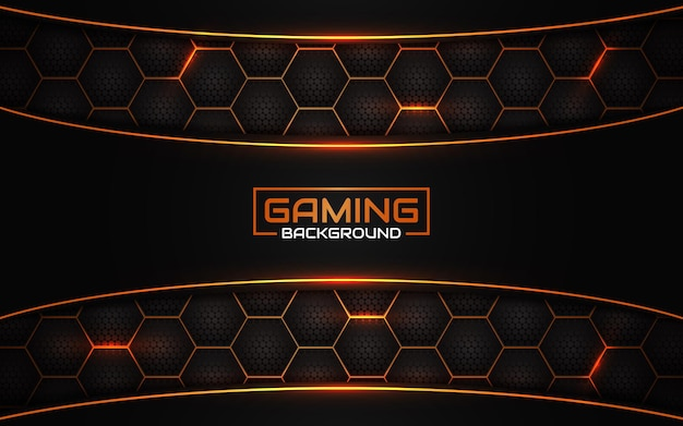 抽象的な未来的な黒とオレンジのゲームの背景 Premiumベクター