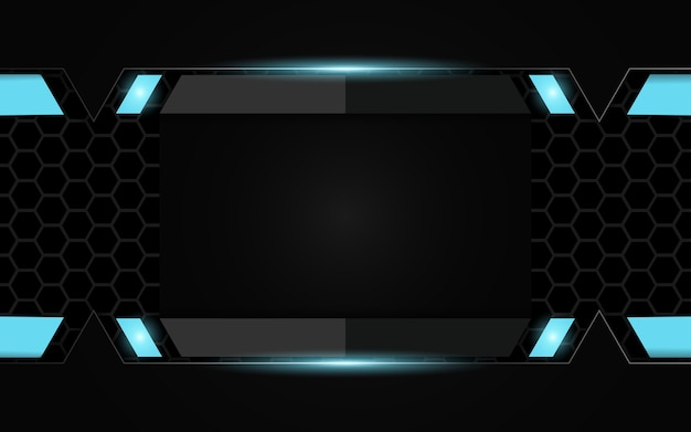 Abstract futuristic black and blue gaming background Premium Vector