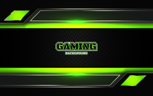 Abstract futuristic black and green gaming background Premium Vector