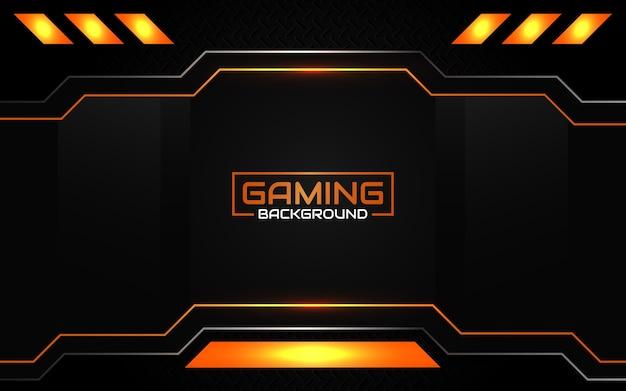 Abstract futuristic black and orange gaming background Premium Vector