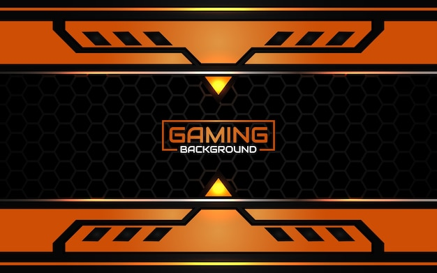 Abstract futuristic black and orange gaming background Premium Vector