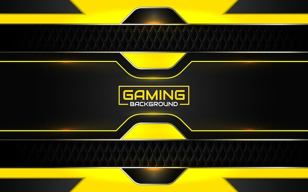 Abstract futuristic black and yellow gaming background Premium Vector