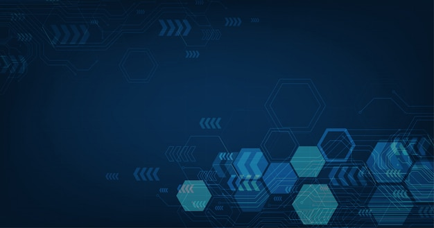 Abstract futuristic circuit board and hexagons, hi-tech digital technology and engineering, digital telecom concept on dark blue color background. Premium Vector