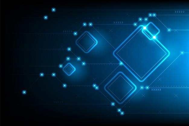 Abstract futuristic circuit square Premium Vector