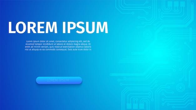 Абстрактный футуристический цифровой синий неоновый баннер Бесплатные векторы