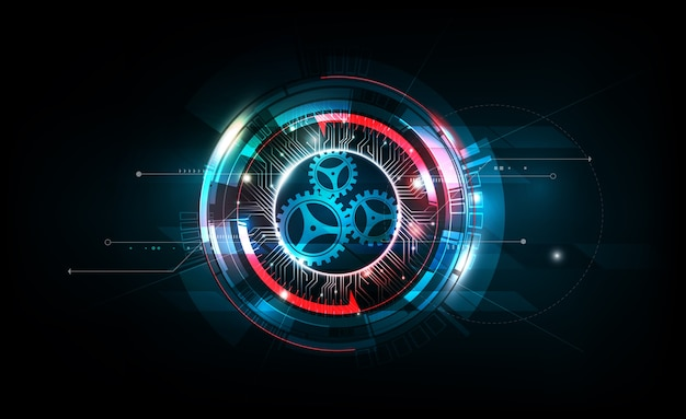 Abstract futuristic electronic circuit technology on dark background Premium Vector