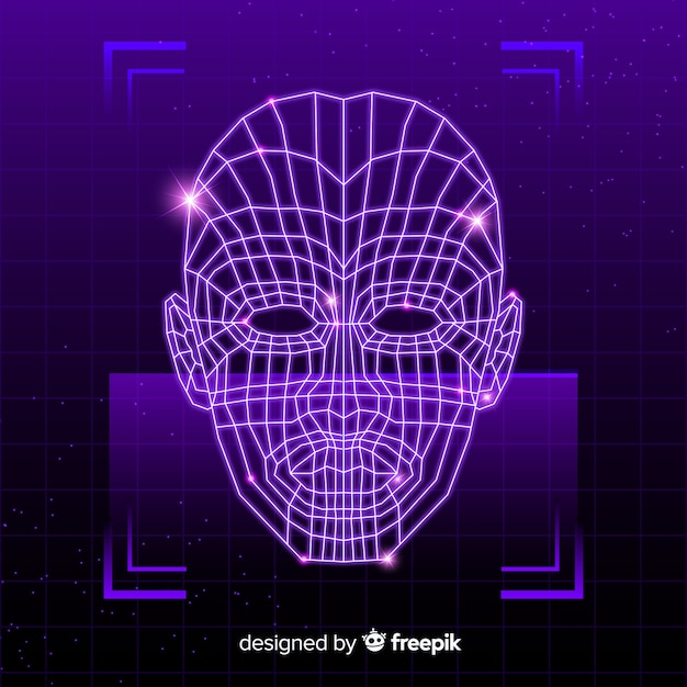 Abstract futuristic face recognition system Free Vector