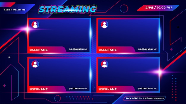 Abstract futuristic gaming background for multiple twitch live streaming Free Vector