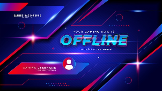 Abstract futuristic gaming background for offline twitch stream Free Vector