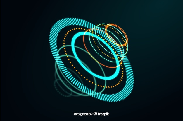 Abstract futuristic glowing hologram background Free Vector