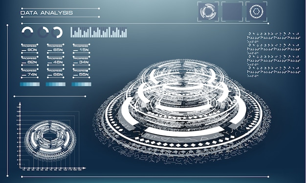 Abstract futuristic object . hud elemet . 3d hologram display consist of glowing particles and blurred circles. Premium Vector
