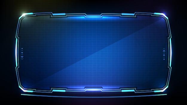 Абстрактный футуристический синий светящийся технологический научно-фантастический кадр hud ui Premium векторы