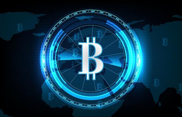Абстрактный футуристический фон технологии биткойнов и карт мира, цифровая криптовалюта по всему миру Premium векторы