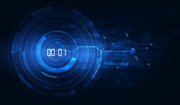 デジタル番号タイマーの概念とカウントダウン、透明な抽象的な未来技術の背景 Premiumベクター