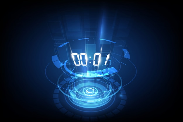 Abstract futuristic technology background with digital number timer Premium Vector