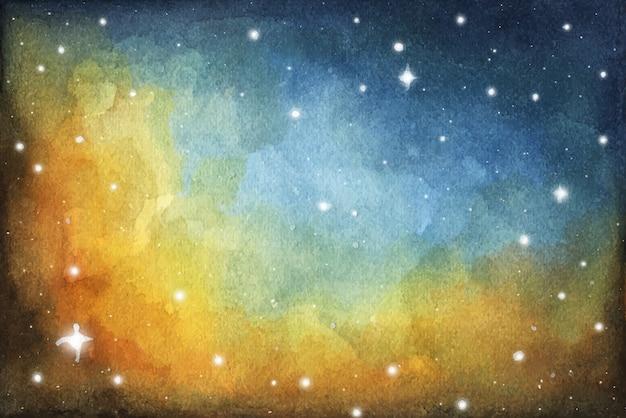 Абстрактная картина галактики. космическая текстура со звездами. ночное небо. акварель красочный звездный космический фон туманности галактики. Premium векторы